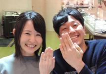 まさと・まい様 (桜G/Pt 斜めの面が美しく輝く結婚指輪)