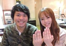 萩里雄史・仲川由笑様 (PG/Pt ハンマー模様の艶消し結婚指輪)