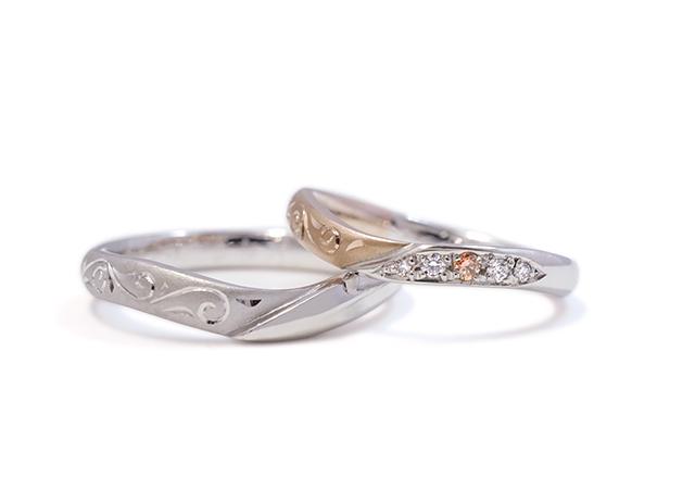 Y様 (Pt/桜G 2つの素材の華やかな結婚指輪)