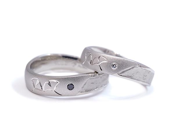 K様 (Pt 銀杏の彫刻が輝く結婚指輪)