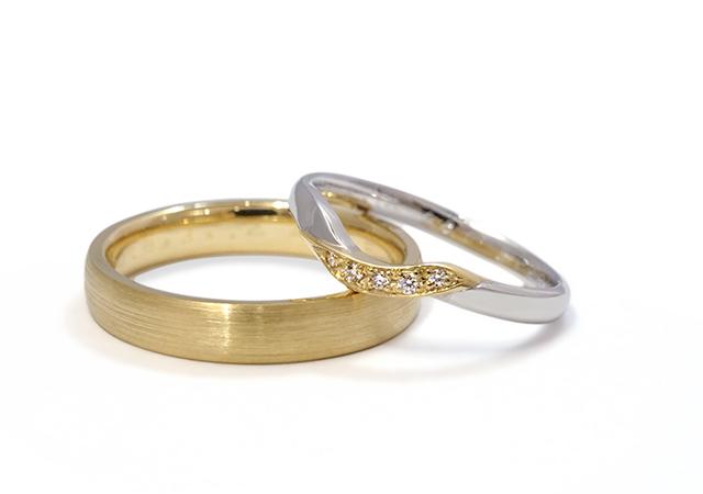 T様 (Pt/YG 共通のゴールドがポイントの結婚指輪)
